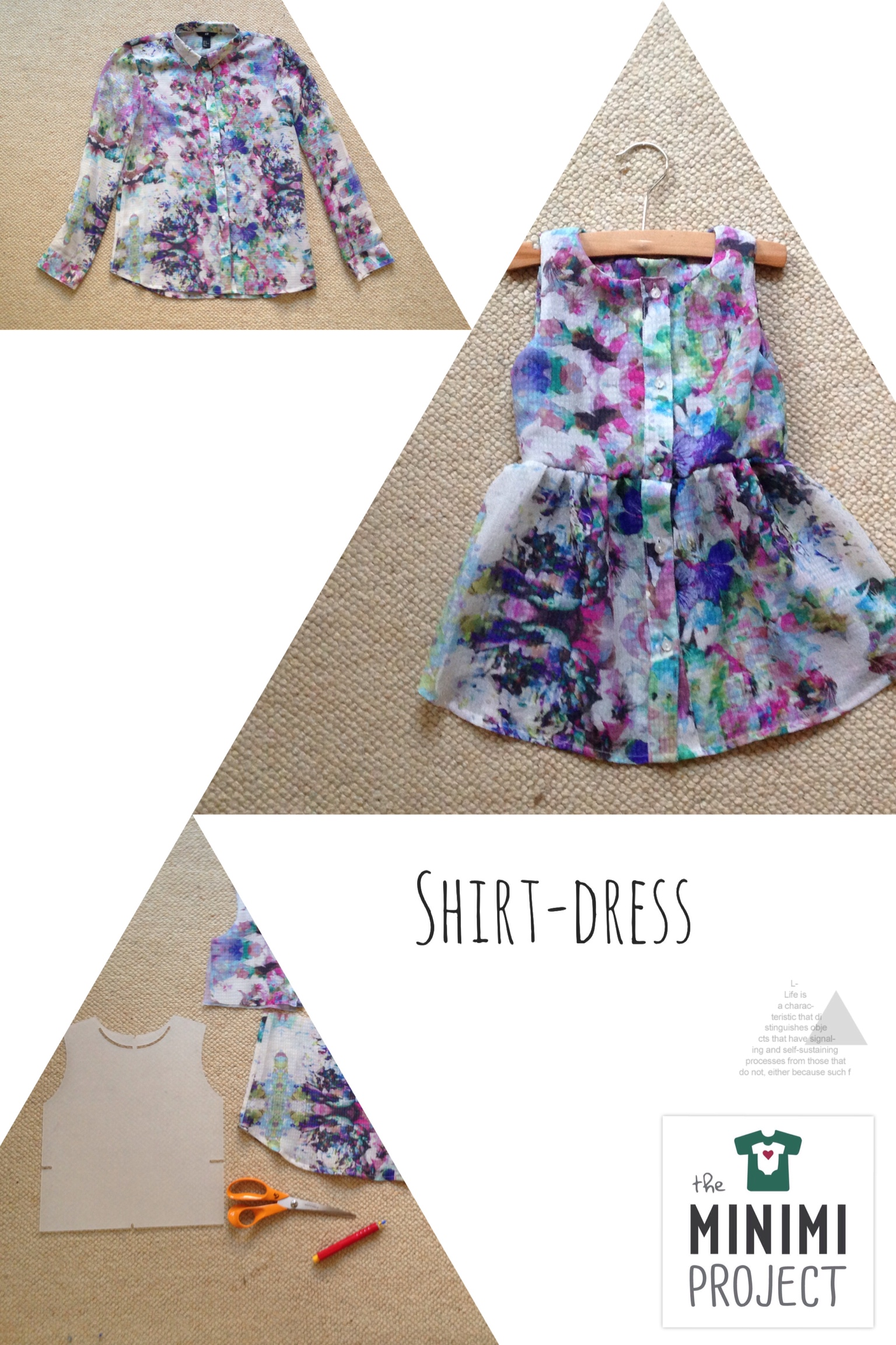 Dress for a baby girl made from a blouse