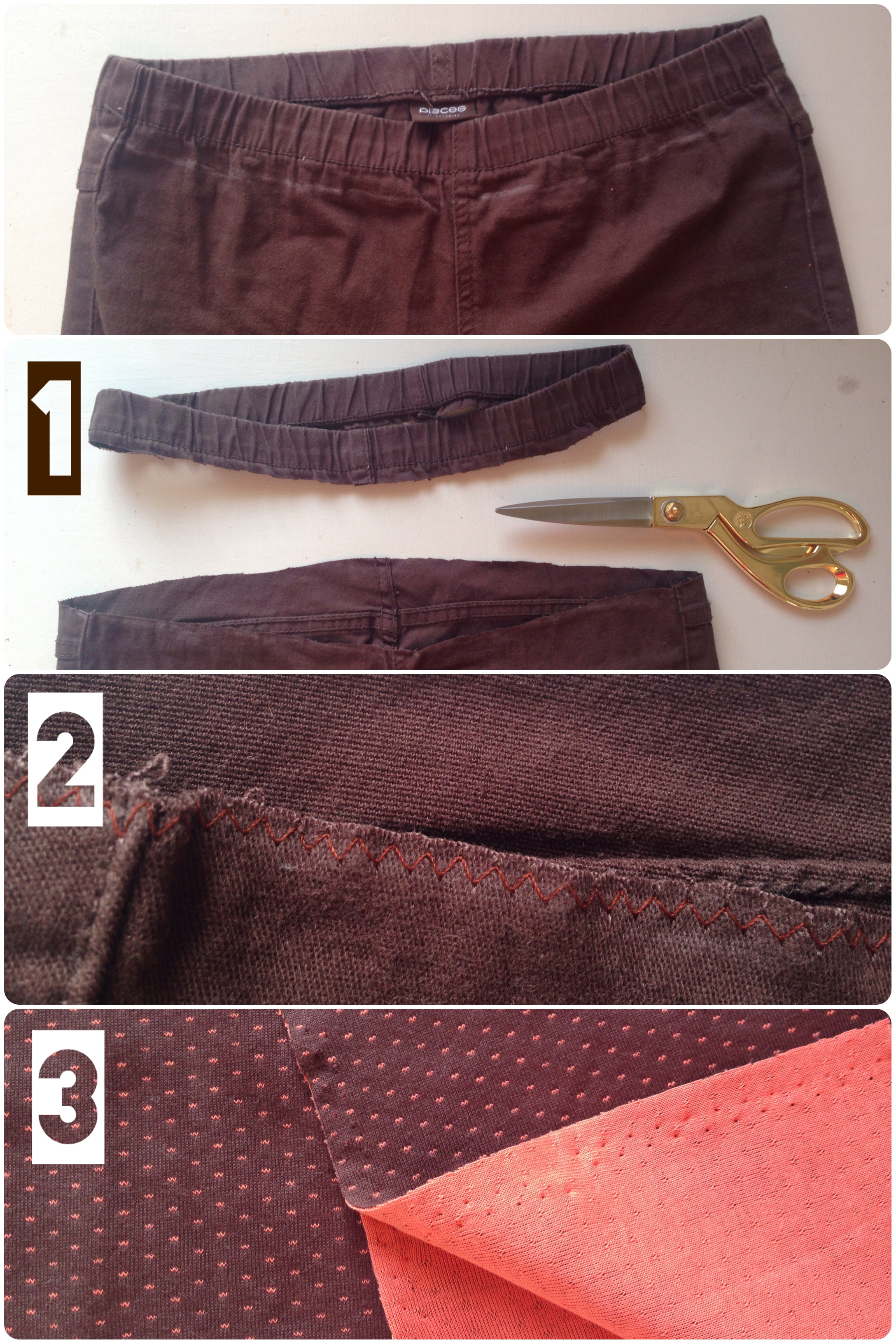 Turn your pants into maternity pants following this tutorial.