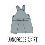 A sewing patter to upcycle a shirt into a Dungarees Skirt for toddlers.