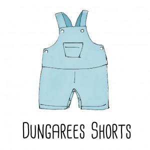 A dungarees shorts for kids made from a shirt.