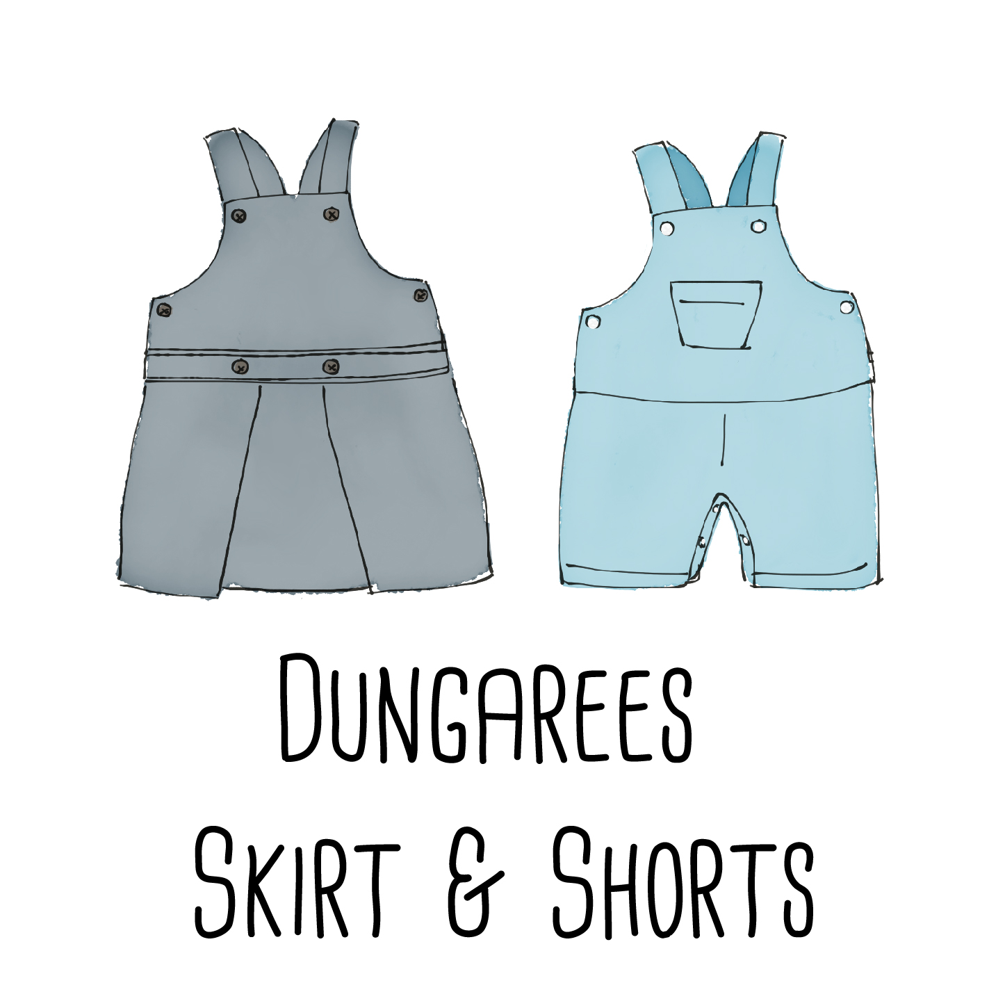 A dungarees PDF pattern to make for boys and girls