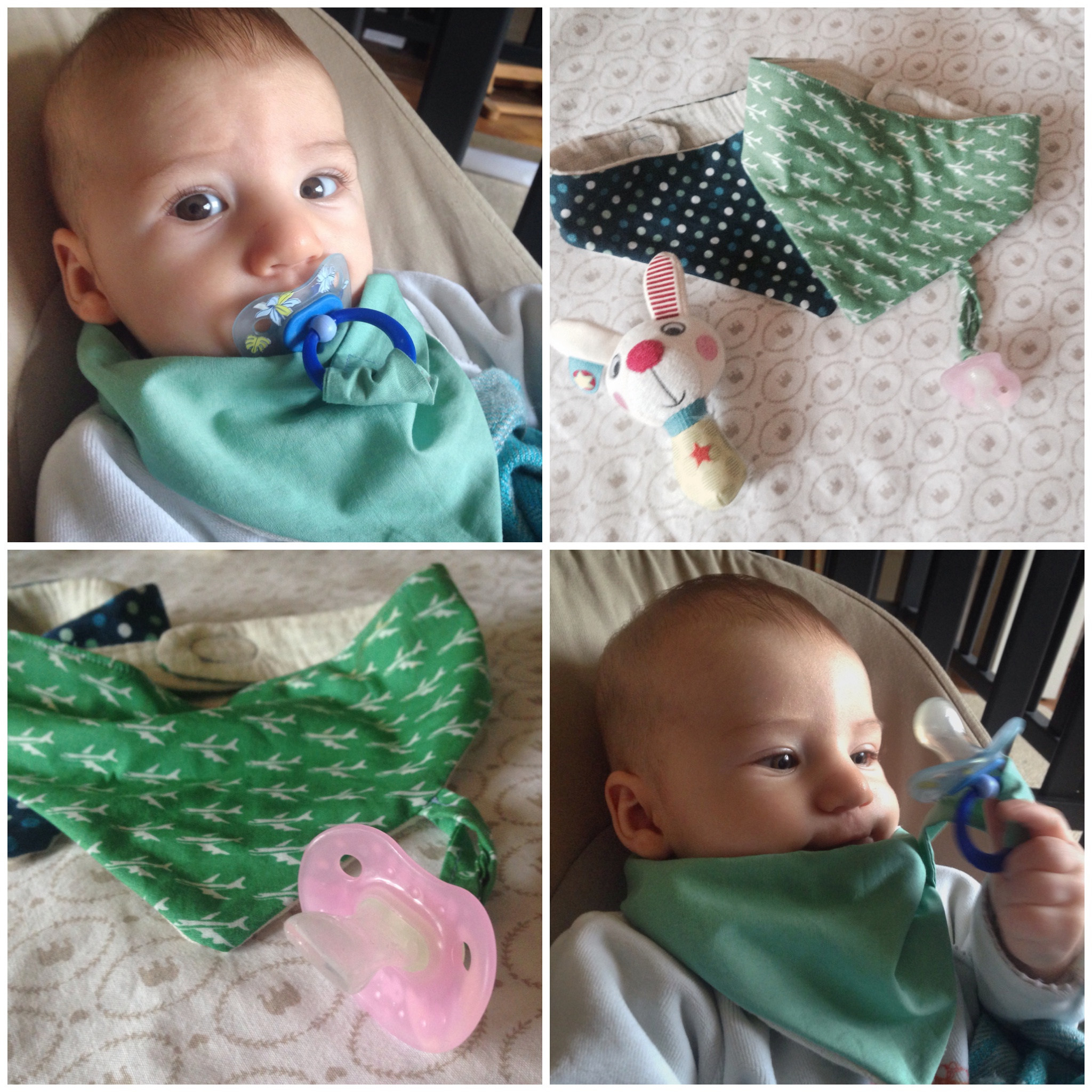 The buffalo Bib is a bib that does not look like a bib. Perfect for the drooling babies and with a handy pacifier string.