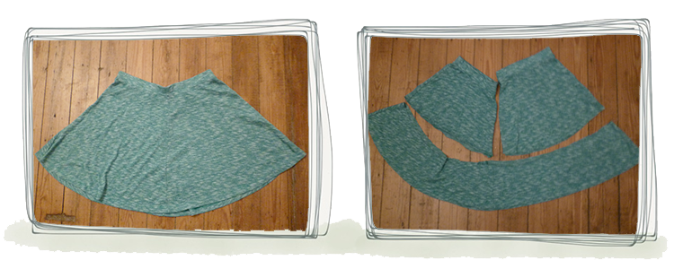Skirt is cut in two pieces from the top.