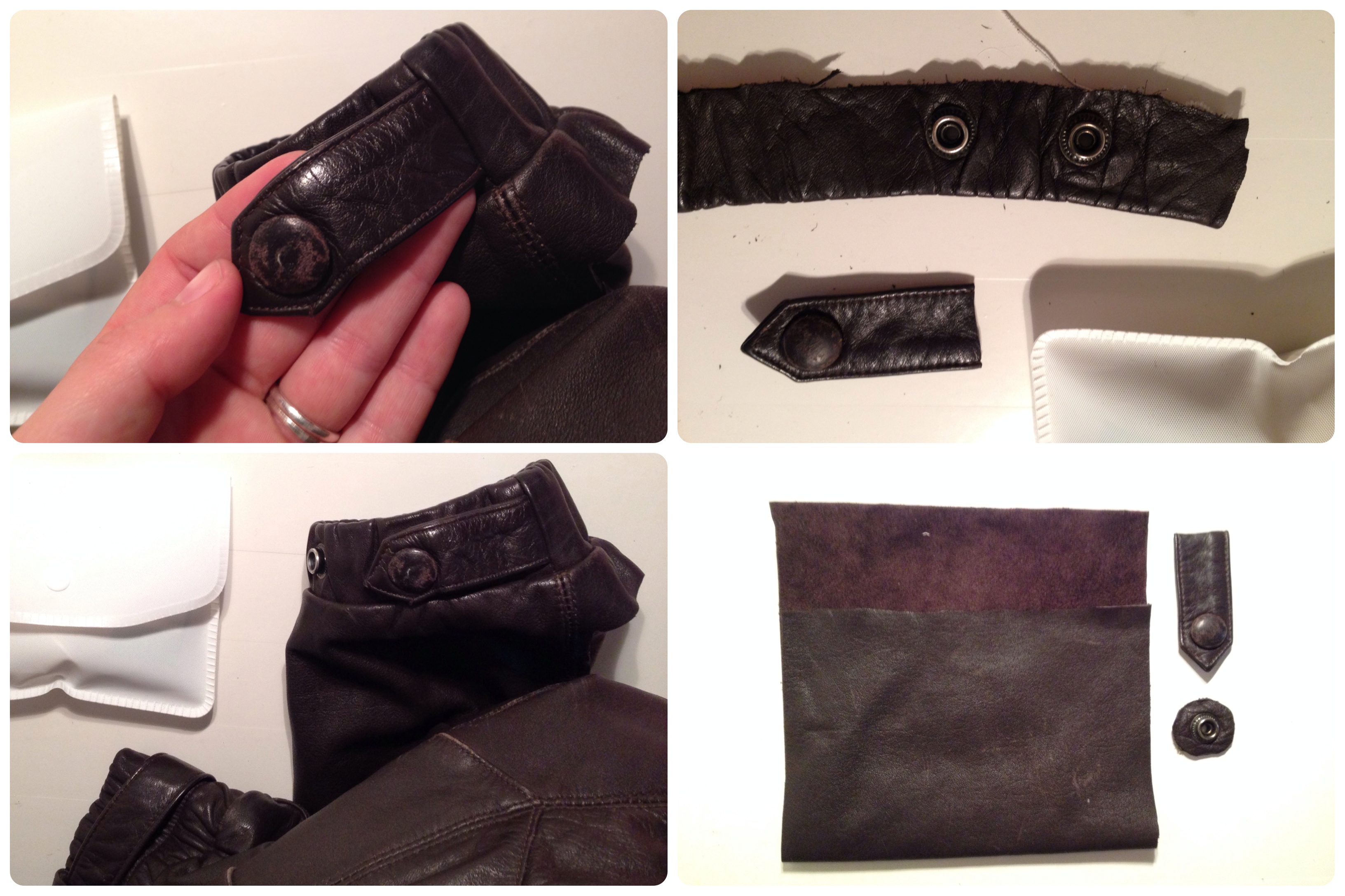 Leather pouch made from a jacket