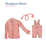 A PDF sewing pattern for upcycling a dungarees made from a shirt