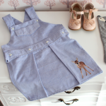 a dungarees skirt upcycled from a shirt